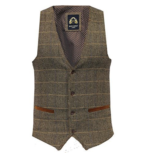 Uomo Marc Darcy Vintage Tweed Panciotto - DX7 Marroncino (52)