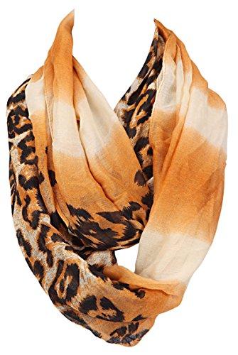 Tuch im Loop-Schal-Stil - schön groß - wilder Mustermix Afrika-Wüste meet´s Leopard-schönes Herbst-Accessoires (karamel)