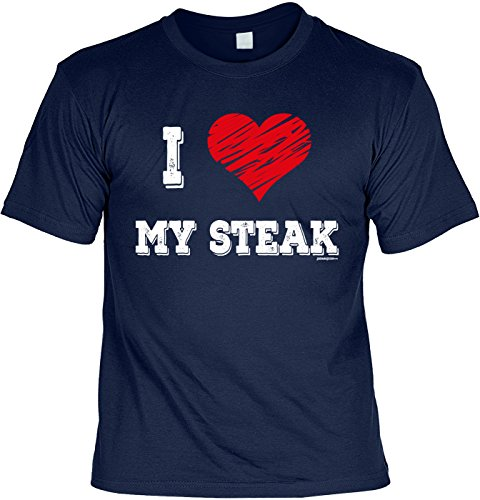 Griller T-Shirt - I Love My STEAK - FunHemd für BBQ und Grillen Navyblau