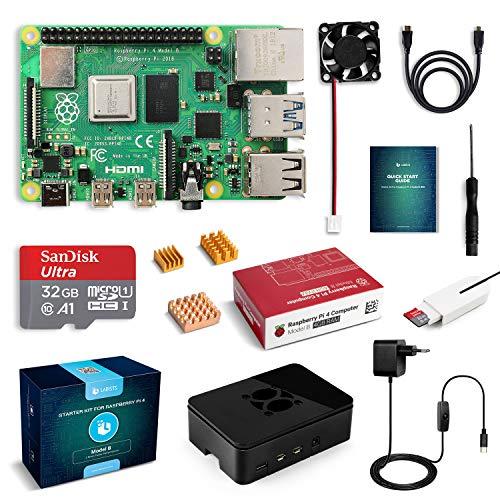 LABISTS Raspberry Pi 4 Modèle B (4 B) 4Go Starter Kit [ 2019 Version Dernière ] 32 Go Carte Micro SD Classe 10, 5,1V 3A Alimentation Interrupteur Marche/Arrêt, Ventilateur, Boîtier Noir, Dissipateur