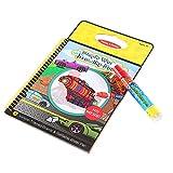 Libro de dibujo de agua para niños, tema del coche pintura del agua reutilizable para colorear libro del Doodle con dibujo pluma de agua juguetes educativos regalo de los niños