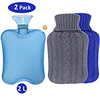 2 Pack Hot Water Bottle with Knitted Covers Removeable & Washable Knit Bottle Cover Quick Pain Relief Comfort (Blue)