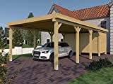 Carport (Flachdach) Valencia II 400 cm x 800 cm, mit Geräteraum