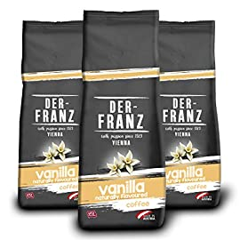 Der-Franz – Coffee, Flavoured with Natural Vanilla UTZ, Whole Bean, 3 x 500 g