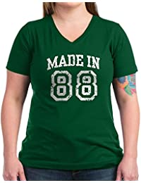 CafePress - Made In 88 - Womens Cotton V-Neck T-shirt