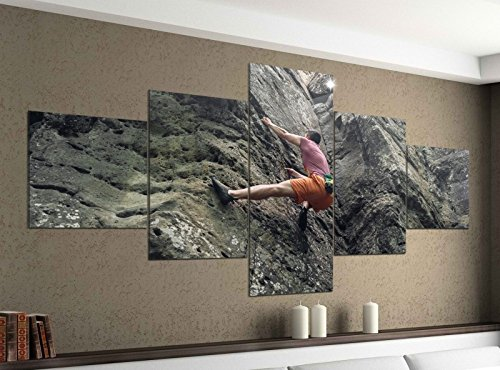 Leinwandbild 5 tlg. 200cmx100cm Freeclimbing Felsen Klettern Extrem Bilder Druck auf Leinwand Bild Kunstdruck mehrteilig Holz 9YA812, 5Tlg 200x100cm:5Tlg 200x100cm