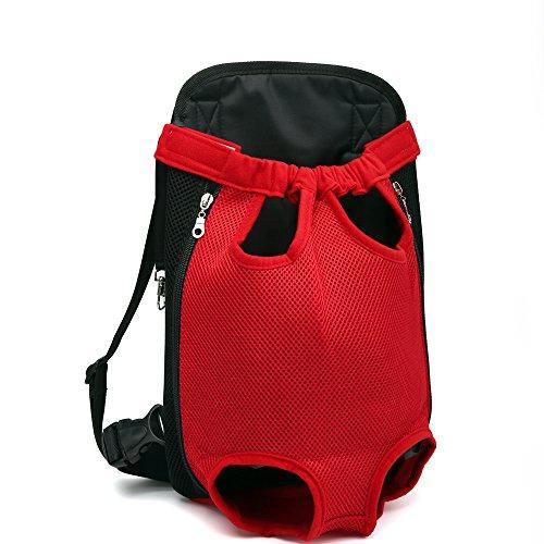 DJG Reise tragbaren Pet Carrier Rucksack, Schulter Breathable Pet Chest Bag Easy-Fit für Reisen Wandern Camping für kleine, mittlere Hunde-Red,S