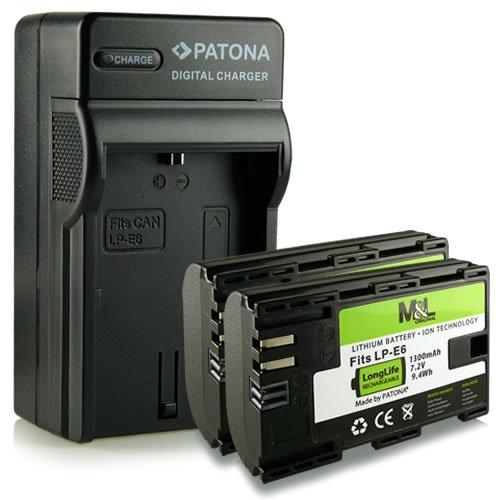 M&L Mobiles® | Neuheit - 4in1 Ladegerät mit micro USB Anschluss + 2x Akku wie LP-E6 LPE6 mit Infochip · 100% kompatibel mit Canon EOS 5D Mark II | 5D Mark III | 6D | 7D | 60D | 60Da -