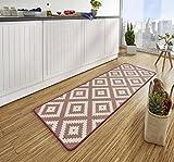 Bavaria Home Style Collection - Küchen-Läufer - Teppich - Raute - ca. 67 x 180 cm (rosa)