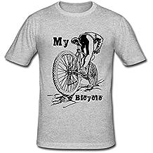 JIUDUIDODO Hombres del estilo retro para bicicleta Printing Fashion Slim Fit T-shirts