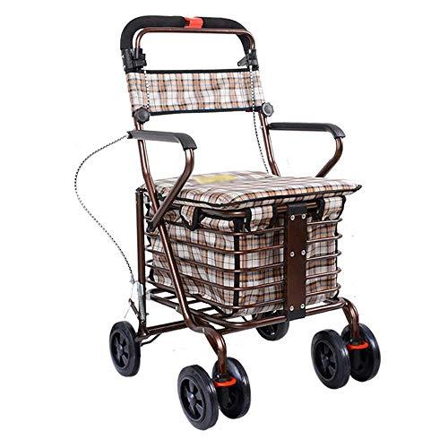 DHINGM Passeggino a quattro ruote, spinta a mano dell'uomo anziano può sedere, pieghevole Step-by-step vecchia auto, acciaio leggero telaio, gambe sono disponibili in 2 altezze for soddisfare le vost