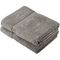 Pinzon by Amazon Lot de 2 draps de bain en coton Gris