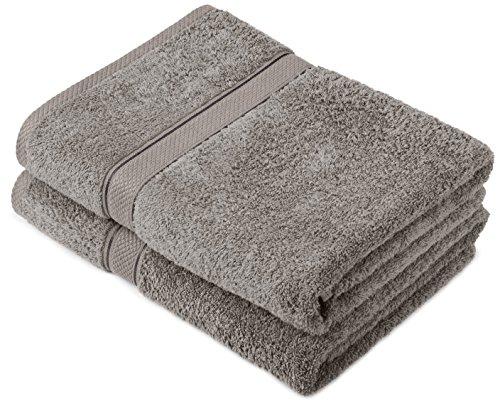 Pinzon by Amazon Handtuchset aus Baumwolle, Grau, 2 Badetücher, 600g/m²