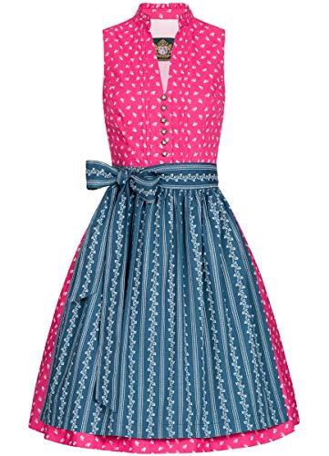 Hammerschmid Damen Trachten-Mode Midi Dirndl Maschsee in Pink traditionell, Größe:40, Farbe:Pink