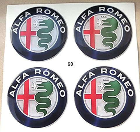 ALFA ROMEO 60mm tuning 3d 3m résine caches roues enjoliveurs Caps Stickers x 4pièces Mito Giulietta Brera 147156159146GT GTA -