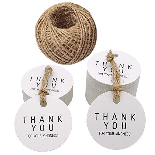 You Gift Tags, 4,5 cm vielen Dank für Ihre Freundlichkeit Kraftpapier Tags, rund Tags, mit 100 Fuß Jute Bindfäden ()