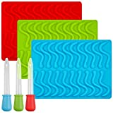 Moldes de silicona para gominolas Senhai, con 3 cuentagotas, 3 unidades, ideal para hacer cubitos de hielo, gelatina, bombones, jabones, tartas o cera, aptos para horno, nevera, microondas y congelador