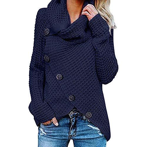 iHENGH Damen Herbst Winter Übergangs Warm Bequem Slim Lässig Stilvoll Frauen Langarm Solid Sweatshirt Pullover Tops Bluse Shirt (XL, Marine)