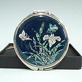 Vergrösserung Taschenspiegel Rund Make Up Perlmutt Neu Deisgn Schmetterling Blume
