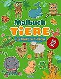Malbuch Tiere ab 3 Jahren: 50 Tiere zum Ausmalen, vom Bauernhof, aus dem Urwald, aus dem Wald und aus dem Meer (Jumbo-Aktionsbuch für Kinder ab 2 ... oder Schule, frühes Lernen mit Spaß)