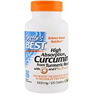 Doctor's Best | High Absorption Curcumin with C3 Complex and BioPerine | 1.000 mg | 120 Vegan Tablets | Gluten-Free | Soy-Free