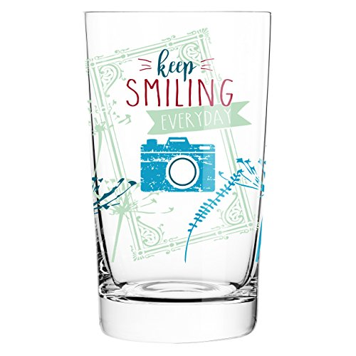Ritzenhoff 3270018 Everyday Darling Softdrinkglas, Kristall, grün / rosa / petrol, 7.3 x 7.3 x 12.7 cm
