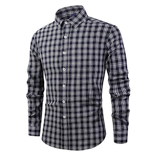 serliyHemd Herren Kariert Trachtenhemd Karohemd super Checked Shirt für das Oktoberfest gebürstet Baumwollehemden Langarmhemd Freizeithemd Business Party (T-shirt Stunden Youth)