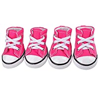Mike Wodehous Puppy Sporty Cloth Shoes Pink Blue Denim Canvas Sneaker Pet Dog Boots Lovely Shoes for Small Dogs Booties for Bogs (Color : Red, Size : M)
