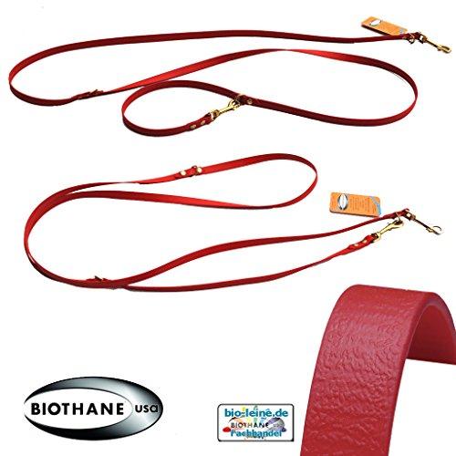 Bioleine Verstellbare robuste Hundeleine aus BioThane® für sehr kleine Hunde Doppelleine 2,5 m | Rot | 9 mm breit