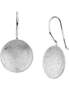 Nenalina Silber Damen-Ohrringe Ohrhänger rund mit gebürsteten Oberflächen, 324396-390