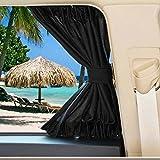Rideaux pare-soleil de voiture, 2 pièces occultants, isolation thermique, bloque les rayons UV nocifs pour les fenêtres latérales en tissu, pare-soleil (Noir)