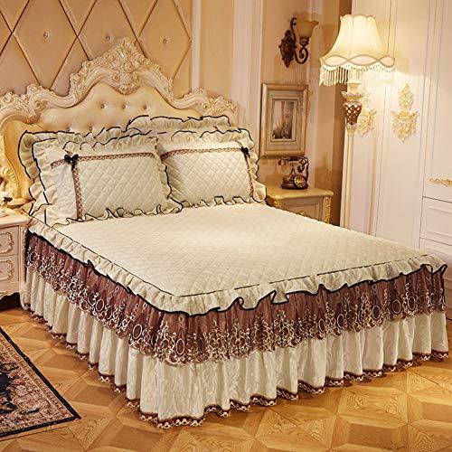 KE & LE Gewellte Spitze Bettrock, DREI Seiten berichterstattung Ausgefallene Kollektion Brushed Bett wrap Um Stil Elastische Tagesdecke-D 120x200cm