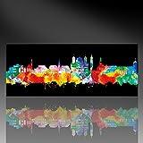 Kunstbruder Kunstdruck auf Leinwand - Augsburg Skyline - Neon (div. Größen) 60x150cm