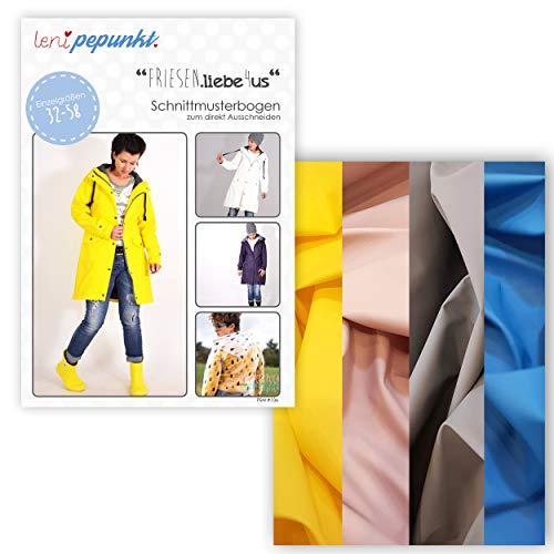 (leni pepunkt Papierschnittmuster zum direkten Ausschneiden mit Nähanleitung und Stoff in Rosa - Set für eine Regenjacke in den Größen 32-58 für Damen zum Selbstnähen mit 5 Webetiketten)