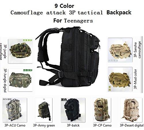 syr-outdoor Military Tactical Camouflage Attack Tactical 3P Rucksack Camping Wandern Trekking Tasche Sport Rucksäcke Schwarz