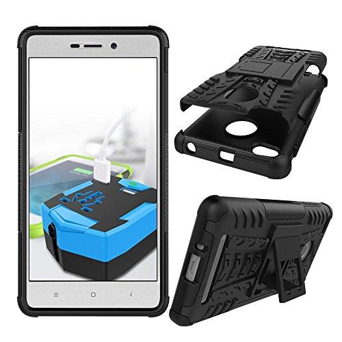 YHUISEN Hybrid Neue Dual Layer-Rüstungs-Kasten Abnehmbare Hinterbauständer 2 in 1 Stoß- Tough Rugged Case für Xiaomi Redmi 3S / 3 Pro ( Color : Black , Size : Xiaomi Redmi 3S ) Black
