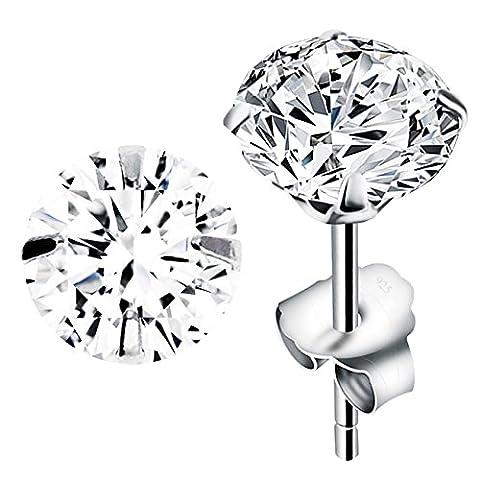 MYA art Ohrstecker 925 Sterling Silber mit einem Zirkonia Stein Diamant Form Ohrringe Stecker Weiß Klein Rund 6mm Damen Herren Kinder MYASIOHR-11