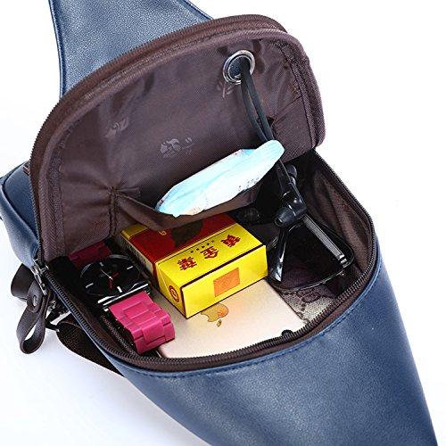 Outreo Borse Tracolla Uomo Petto Borsa a Spalla in Pelle Vintage Tasca Sport Militare Tasche Viaggio Outdoor Borsello Piccolo PU Chest Bag per Tablet Scuola Marsupio (Blu New) Blu