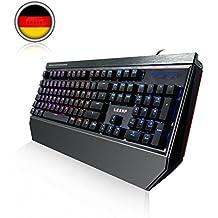 Deutsch Mechanische Gaming Tastatur, LESHP RGB Gaming Tastatur mit blau Switch | 105 Tasten Mechanical Keyboard | Anti-Ghosting|RGB LED-Hintergrundbeleuchtung / 19 Lichtmodi / Benutzerdefinierter Beleuchtungsmodus| QWERTZ-Layout (DE)