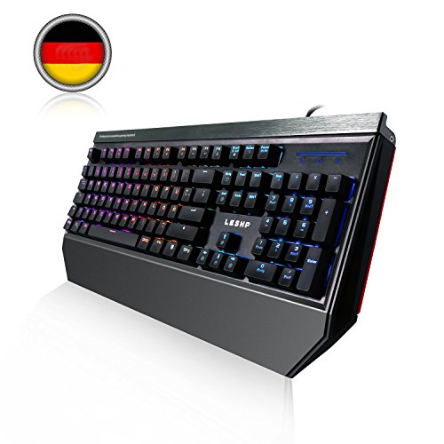 Deutsch Mechanische Gaming Tastatur, LESHP RGB Gaming Tastatur mit blau Switch | 105 Tasten Mechanical Keyboard | Anti-Ghosting|RGB LED-Hintergrundbeleuchtung / 19 Lichtmodi / Benutzerdefinierter Beleuchtungsmodus| QWERTZ-Layout (DE) (Die Geschwindigkeit Meines Pc)