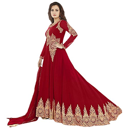 RV Creation New Designer Red Long Anarkali Suit Semi-Stitched Suit