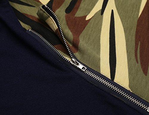 Finejo Sweatshirt Herren Langarm Camouflage Zipper Oversize Leicht Stehkragen Slim Fit T-Shirt Blau