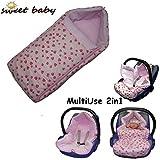 GONDOLI MultiUse 2in1 Polar Soft ** WARMER Fußsack mit WindSchutz für Bayschale und Kinderwagen ** Passend für BabyAutositz wie z.B. z.B. für Maxi Cosi Pebble/Citi/CabrioFix etc. (Sweet Hearts)