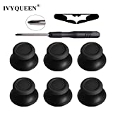 #4: IVYQUEEN 6 pcs Black Analog Caps + Tool + LED Sticker for Dualshock 4 PS4 Pro Slim Controller Analogue Thumbsticks