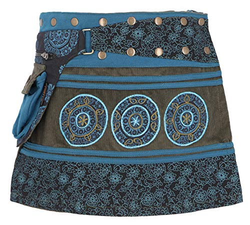 Guru-Shop Cord Wickelrock, Minirock, Kurzer Goa Rock, Cacheur Lang, Damen, Petrol/Olive, Baumwolle, Size:One Size, Kurze Röcke Alternative Bekleidung (Blaue Cord-rock)