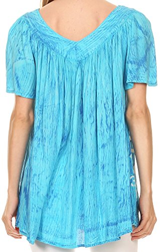 Sakkas Audry Flutter Sleeve V-Neck Batik Top avec des Paillettes et des Broderies Turquoise