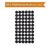 60 Paar Klettverschluss Klettpunkte selbstklebend Ø 15 mm rund (Schwarz)