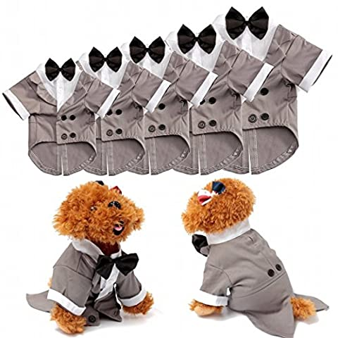 Kungfu Mall Pet Dog Cat Puppy Wedding Suit Clothes Tuxedo Costume Collared Shirt Jumpsuit With Bow Tie (S)