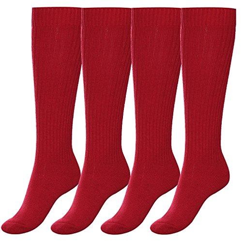 Aibrou Herren/ Damen THERMO Wolle Sportsocken Strickstrumpfhosen Lange Socken 4/ 5 Paar 5 Farben extra warm Rot