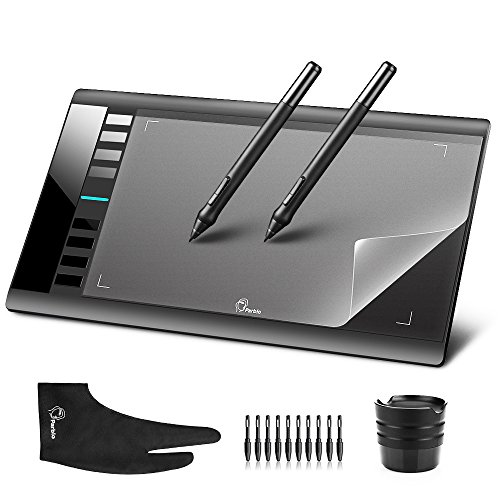 Parblo Grafiktablett Zeichentablett A610 10 Inch Graphic Tablet + Digital Stylus Pen + 2 Finger Glove+Replacement Nibs/Pen Heads +Transparent Film for A610/ Ugee M708 Digitale Zeichnungs